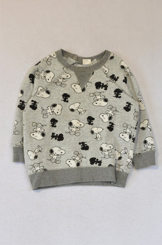 H&M Grey Peanuts Snoopy Long Sleeve Top Unisex 1-2 years
