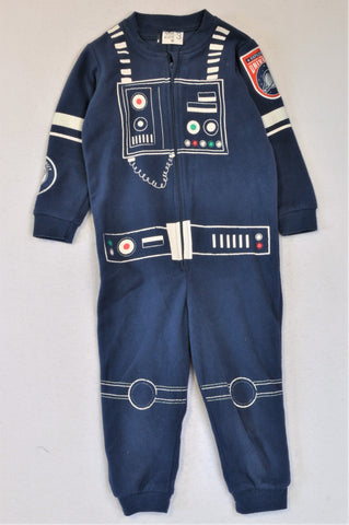 Woolworths Navy Fleece Astronaut Onesie Boys 2-3 years