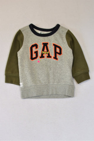 GAP Grey Navy Fleece Lined Olive Long Sleeve Top Boys 1-2 years