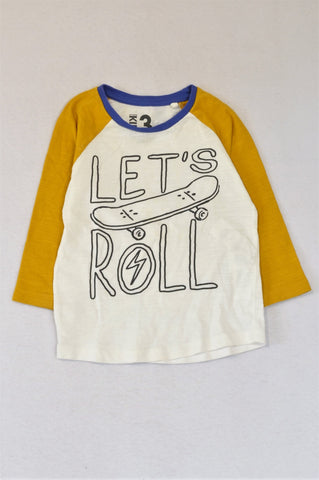 Cotton On White Blue & Mustard Let's Roll Raglan Sleeve T-shirt Boys 2-3 years