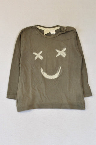 Zara Grey Smiley Face Long Sleeve T-shirt Boys 12-18 months
