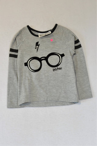 Pick 'n Pay Grey Black Trim Harry Potter Long Sleeve T-shirt Unisex 2-3 years