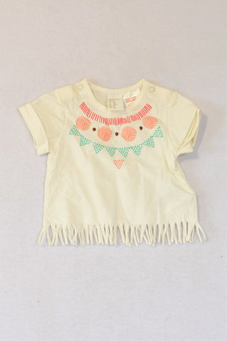 H&M Ivory Organic Cotton Tassle Detail T-shirt Girls 0-3 months