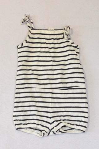 H&M White & Navy Tie Romper Girls 2-4 months