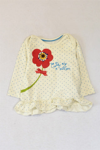 Marks & Spencers White & Blue Dotty Poppy Long Sleeve T-shirt Girls 3-6 months