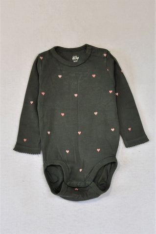 H&M Organic Cotton Charcoal & Pink Heart Baby Grow Girls 3-6 months