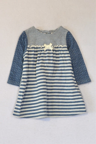 Next Dusty Blue Dotty Striped Long Sleeve Dress Girls 6-12 months