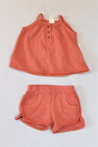 H&M Burnt Orange Pom Pom Trim Tank Top & Shorts Outfit Girls 0-3 months