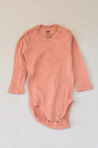 H&M Dusty Pink Organic Cotton Neck Frill Long Sleeve Baby Grow Girls 3-6 months