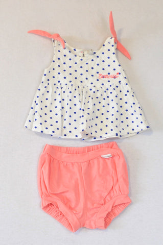 Earthchild White & Blue Dotty Top & Coral Bloomers Outfit Girls 0-3 months