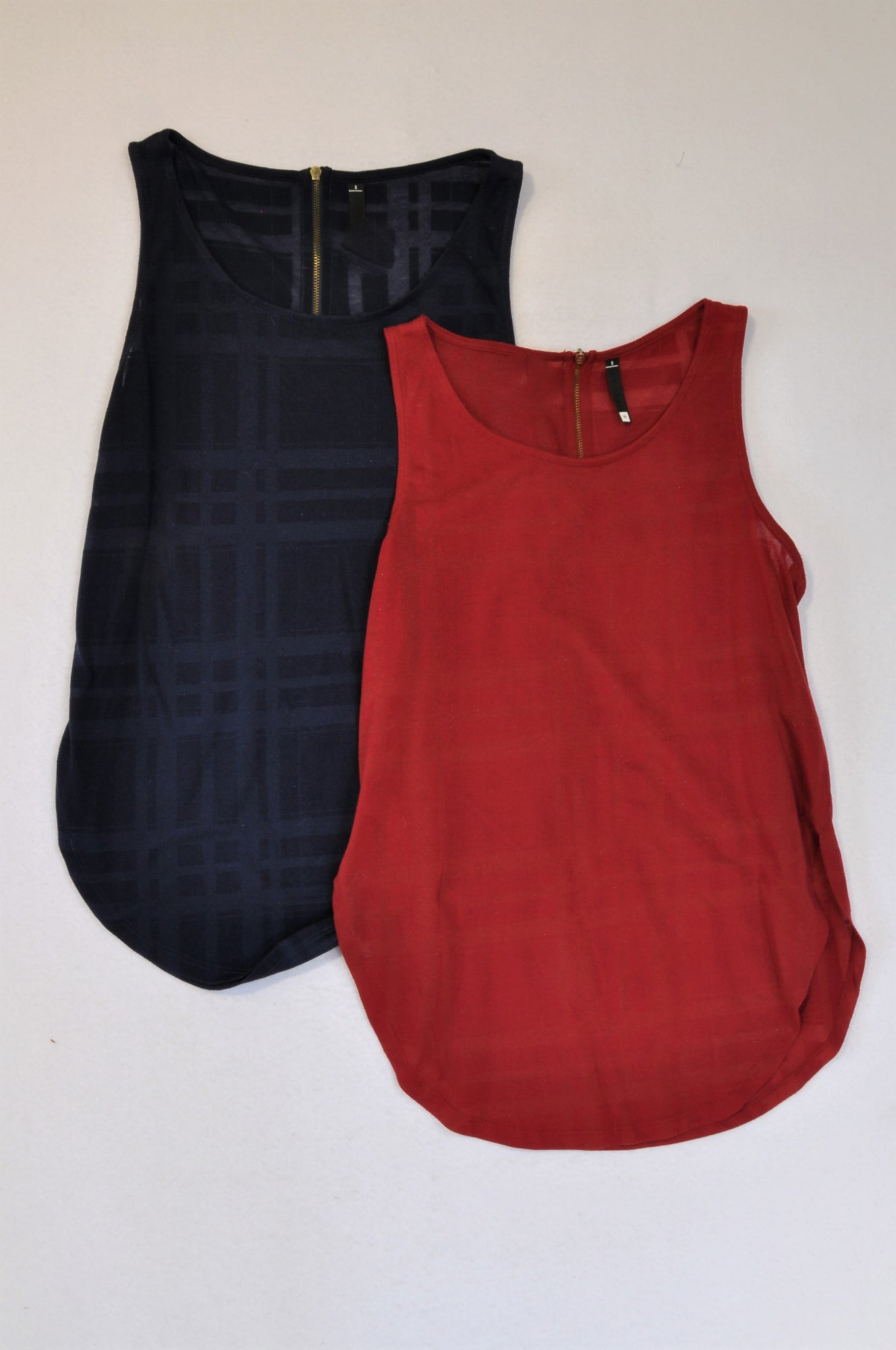 Woolworths 2 Pack Navy & Red Slouchy Tank Top Women Size S