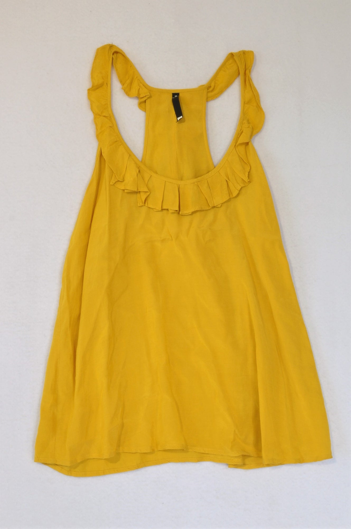 Woolworths Mustard Yellow Frill Tank Top Women Size 10