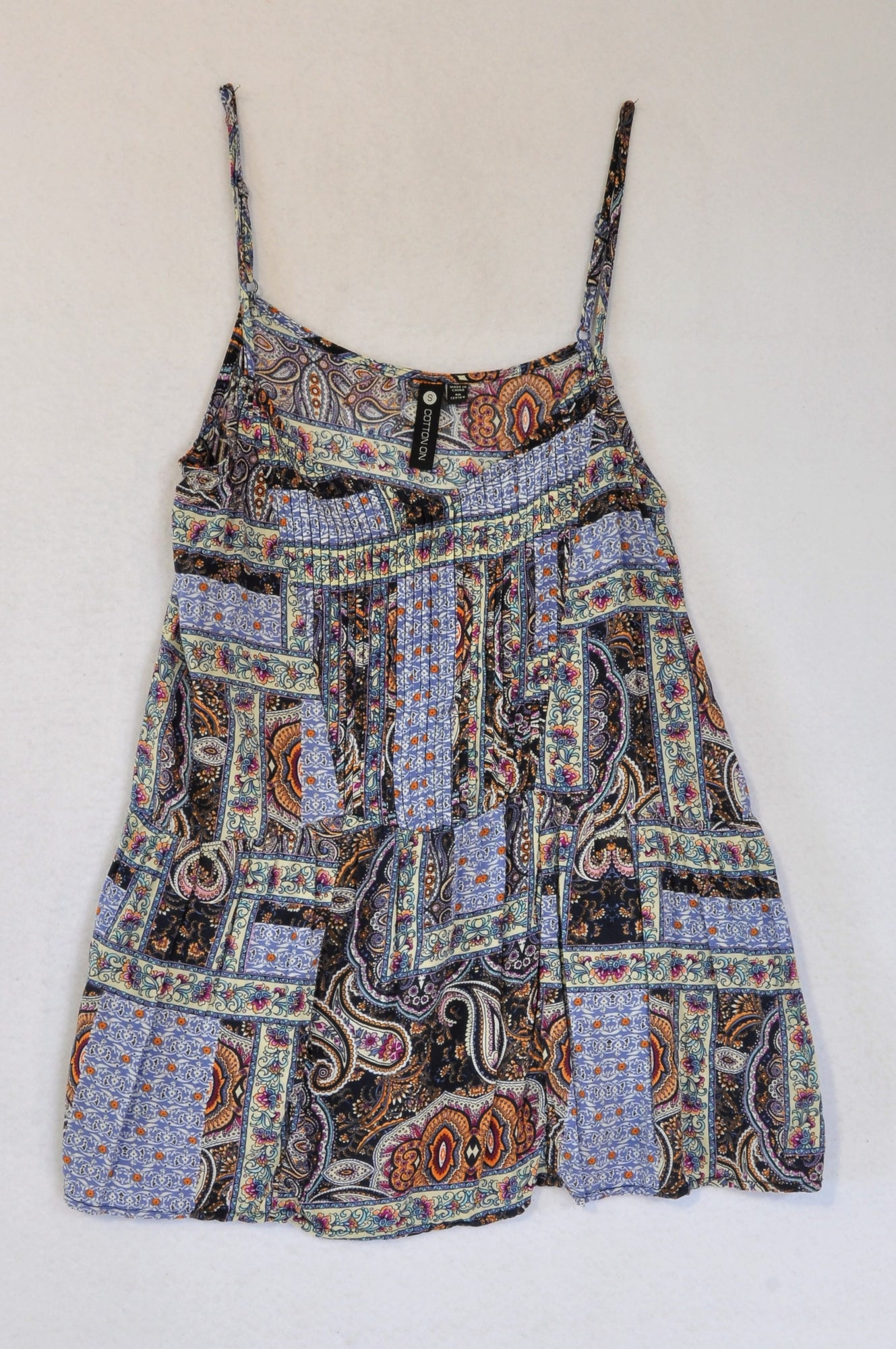 Cotton On Blue Pleat Paisley Strappy Top Women Size S
