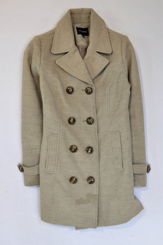Truworths Beige Fleece Double Breasted Coat Women Size 30