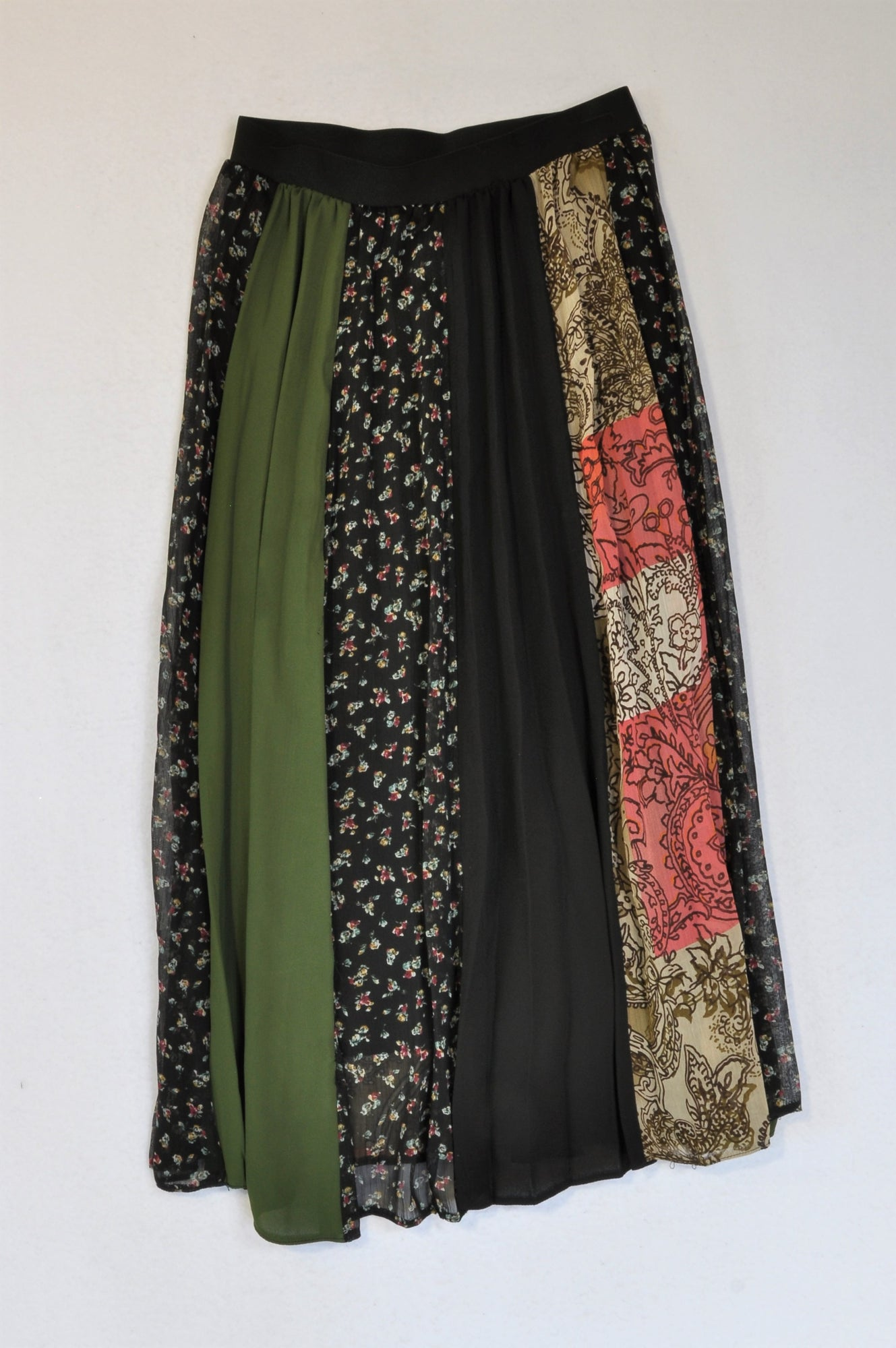 Superbalist Black Banded Olive Floral Panel  Skirt Women Size 6