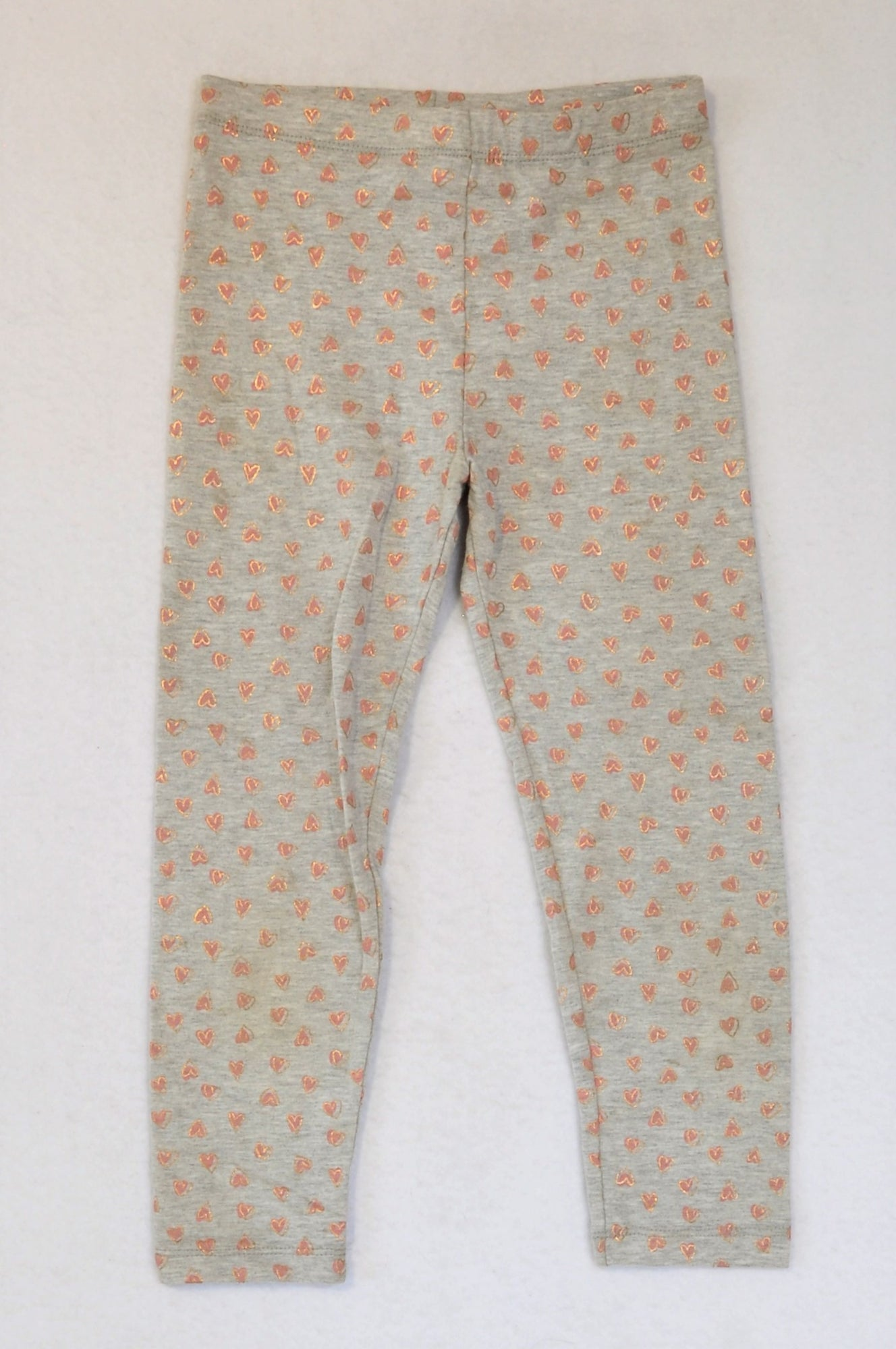 Pick 'n Pay Grey Pink Rose Gold Heart Leggings Girls 5-6 years