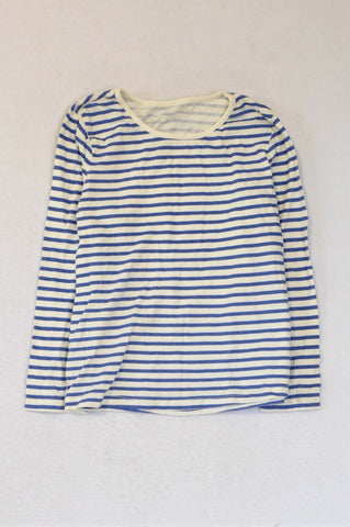 Woolworths Blue & White Striped Long Sleeve T-shirt Girls 6-7 years
