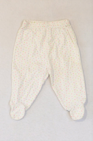 Woolworths White Multicolour Dotty Footed Leggings Girls 0-3 months