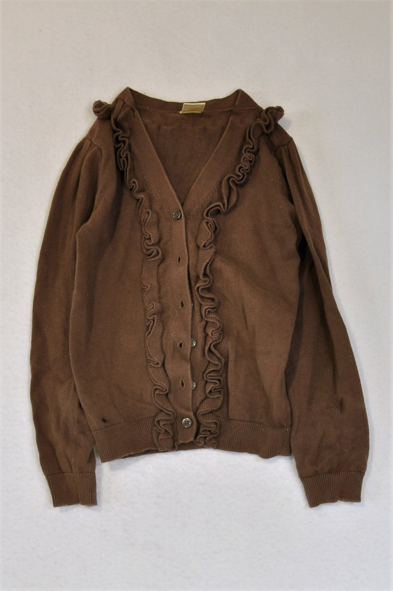 Old Navy Brown Frill Long Sleeve Cardigan Girls 4-5 years