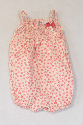The Little White Company Light Pink Floral Smock Style Baby Grow Girls 3-6 months