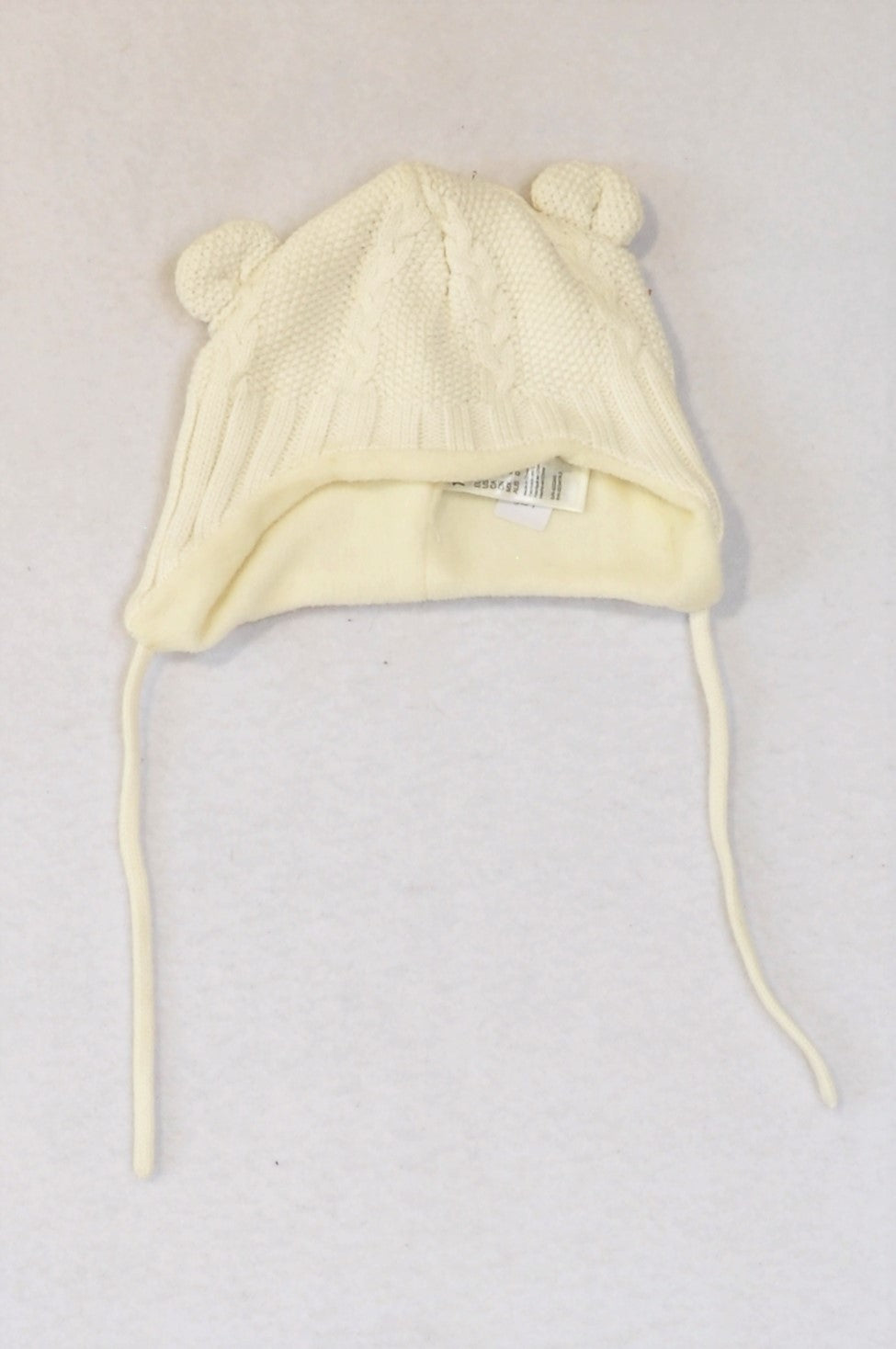 H&M Ivory Cable Knit Fleece Lined Ear Beanie Unisex 3-6 months