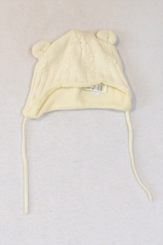 H&M Ivory Cable Knit Fleece Lined Ear Beanie Unisex 0-3 months
