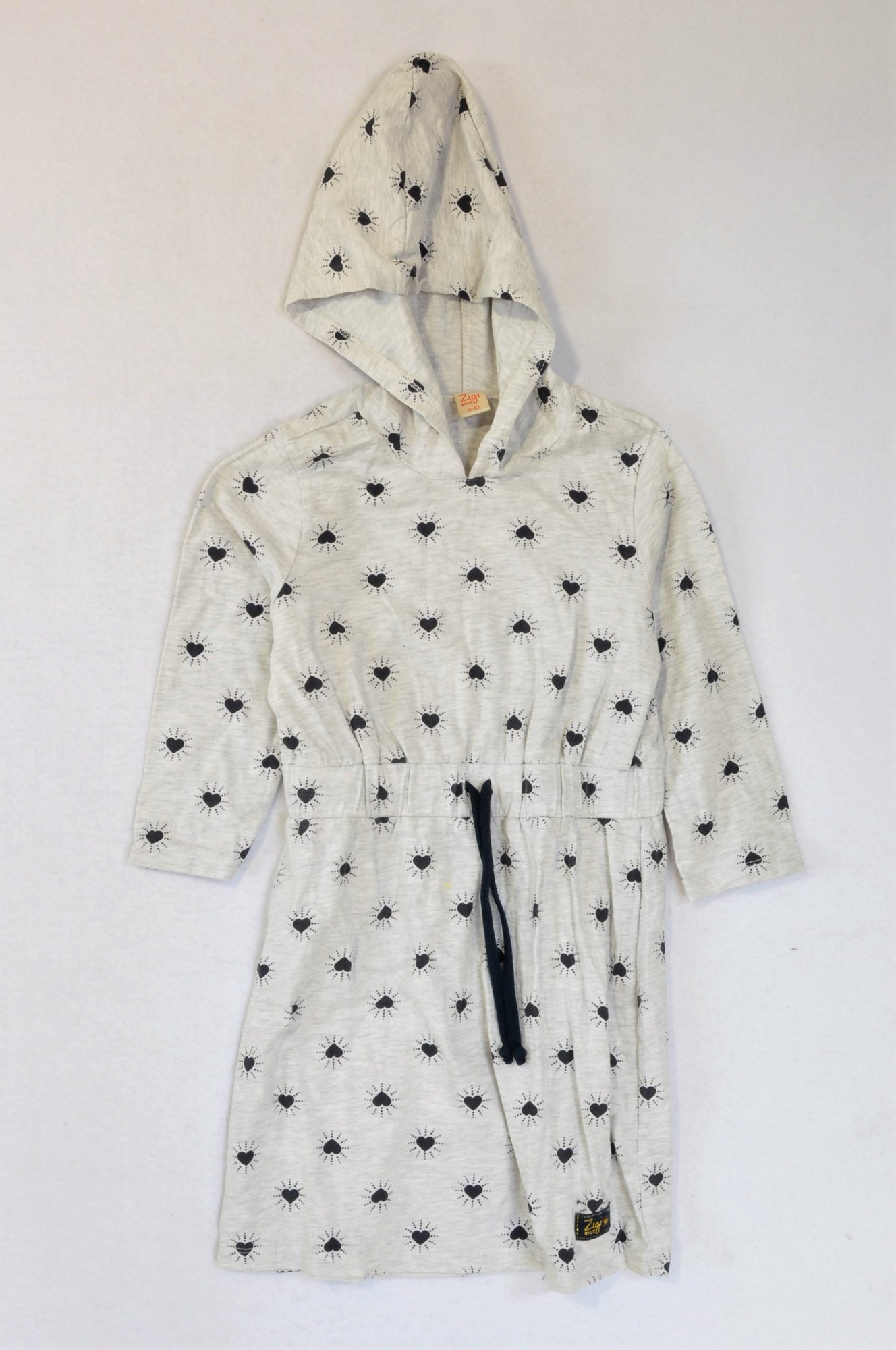 Zigi Grey Heathered Navy Heart Long Sleeve Hooded Dress Girls 9-10 years