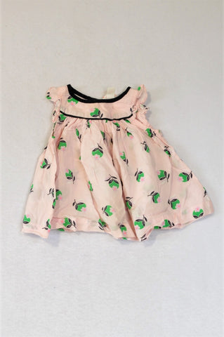 Country Road Light Pink Navy Trim Apple Frill Dress Girls 0-3 months