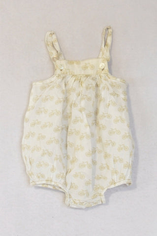 Tic Tac Toe White Lightweight Beige Bicycle Baby Grow Girls 0-6 months