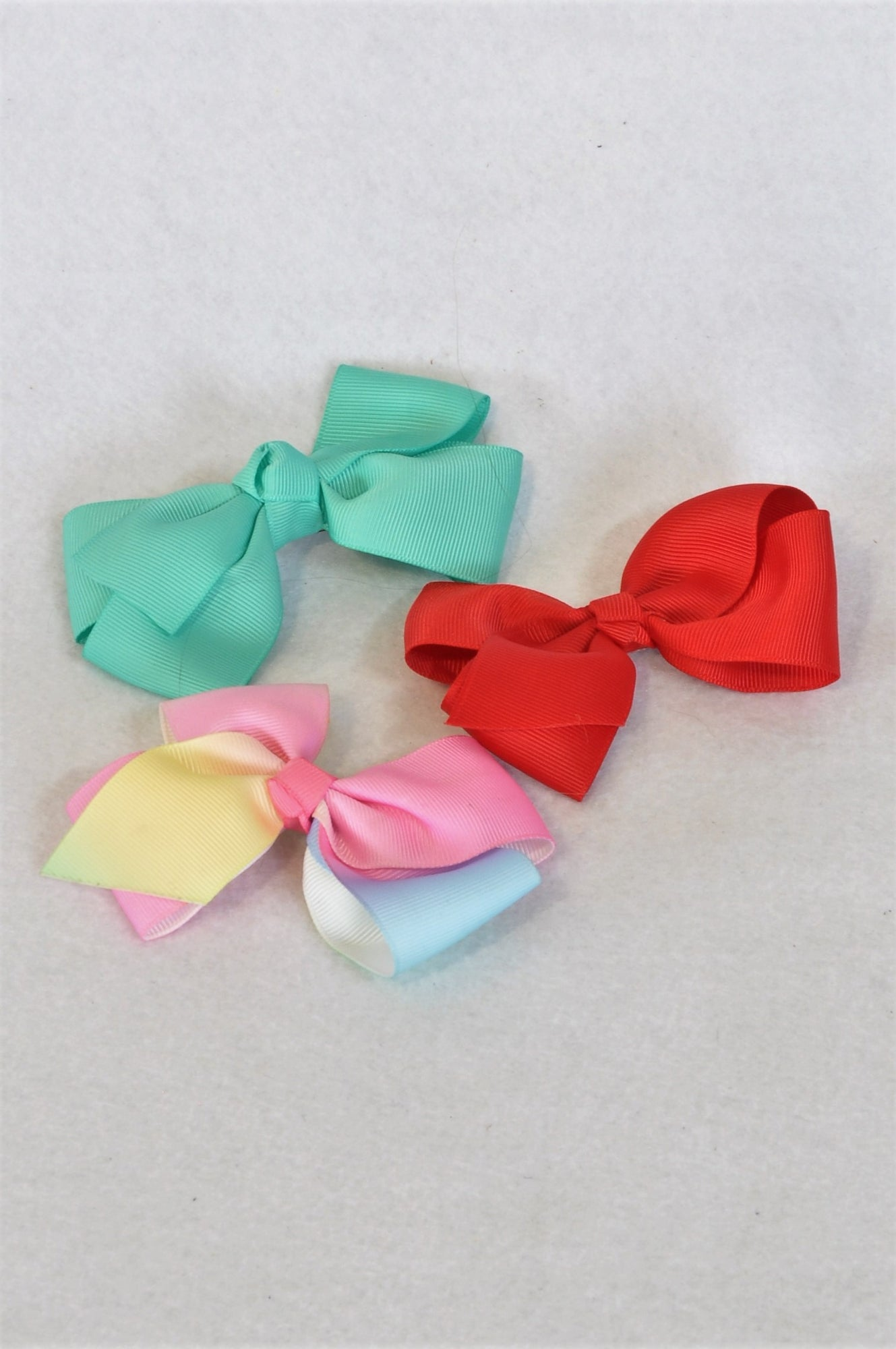 Unbranded 3 Pack Multicolour Hair Bow Kids Accessory Girls 3-10 years