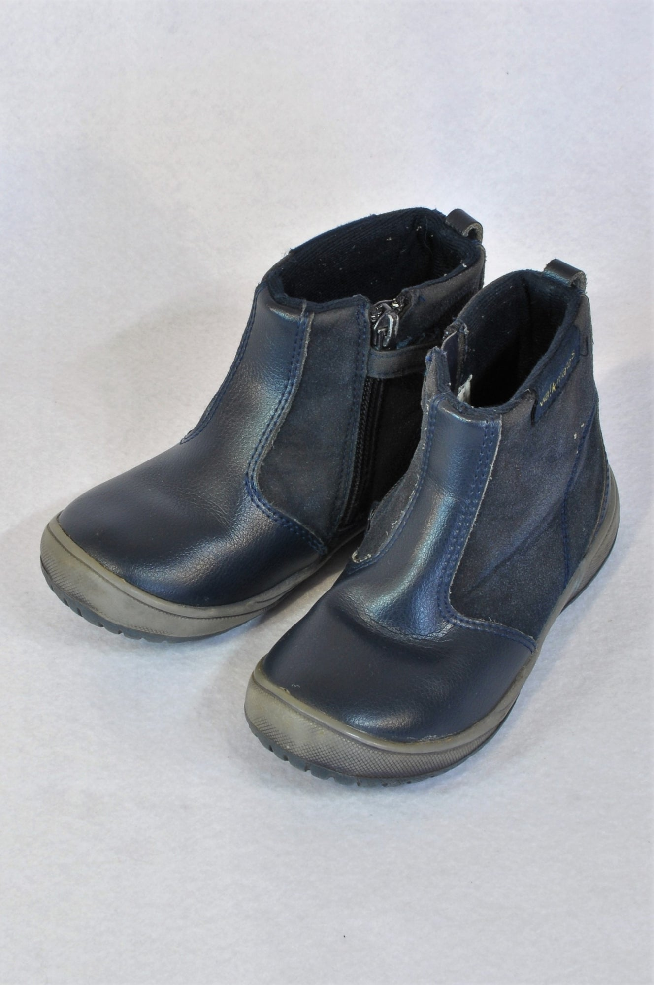 Woolworths Leather Size 10 Navy Blue Zipper Boots Boys 3-5 years