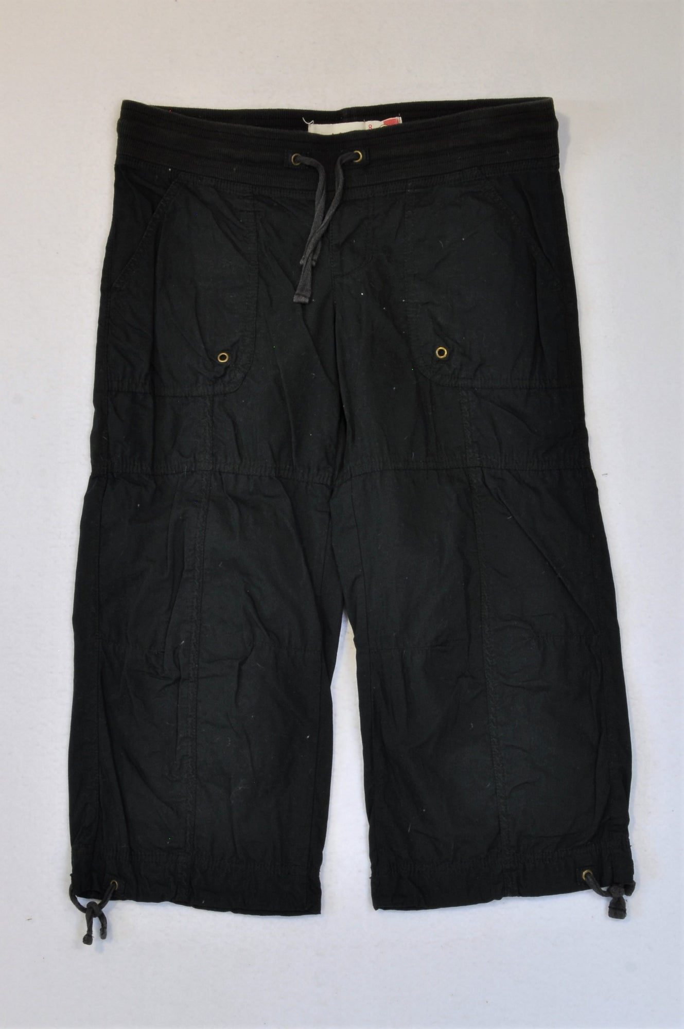 Pick 'n Pay Black Banded 3/4 Cargo Shorts Women Size 8