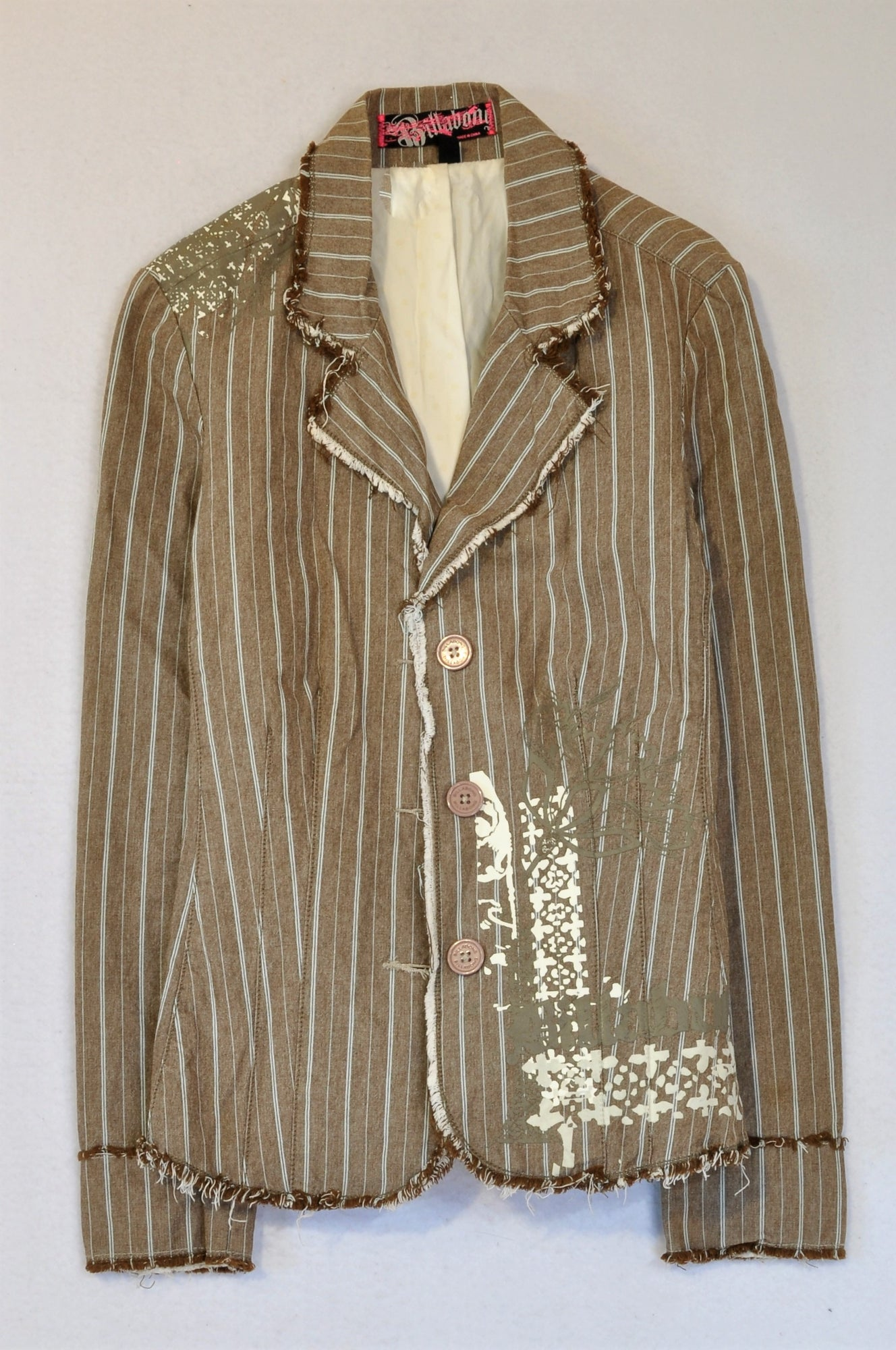 Billabong Brown Striped Distressed Blazer Women Size 8
