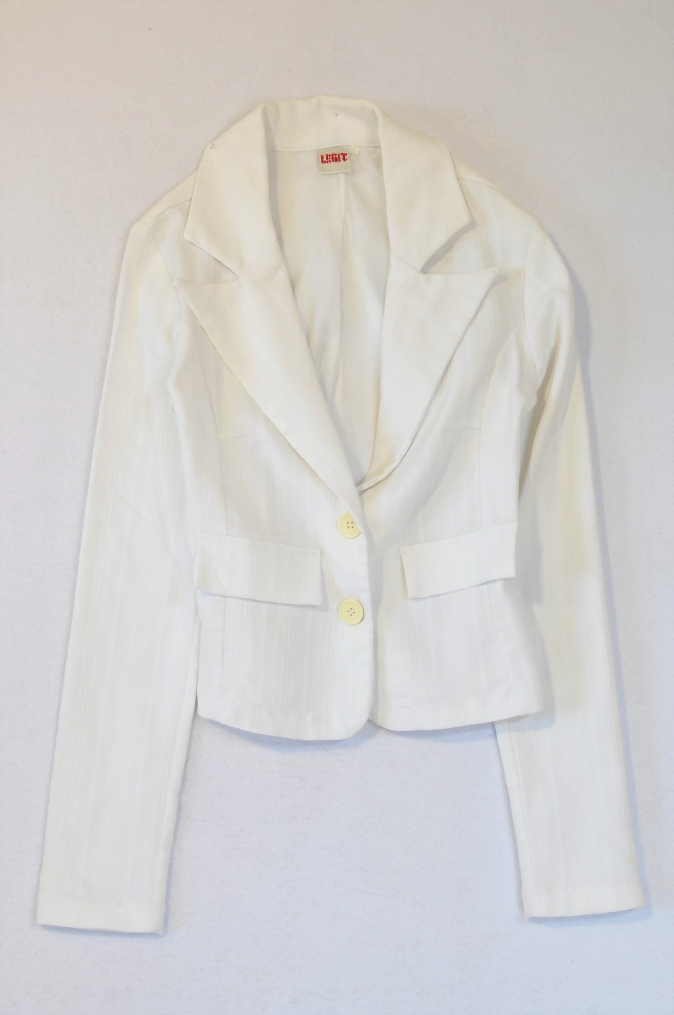 Legit White Lined Cropped Blazer Women Size 8