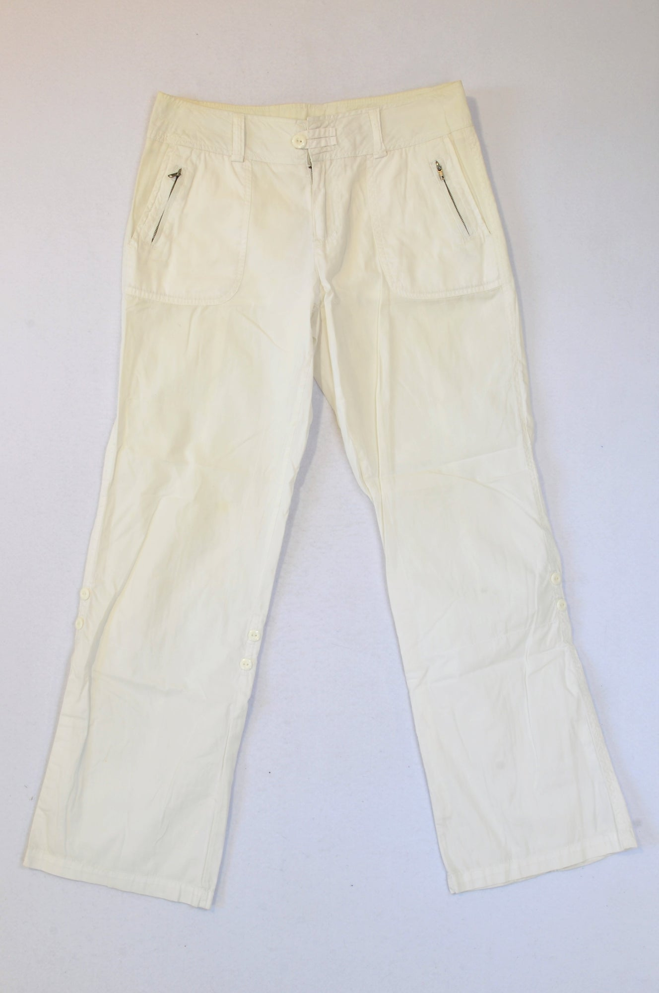 Woolworths White Lightweight Button Pants Women Size 10