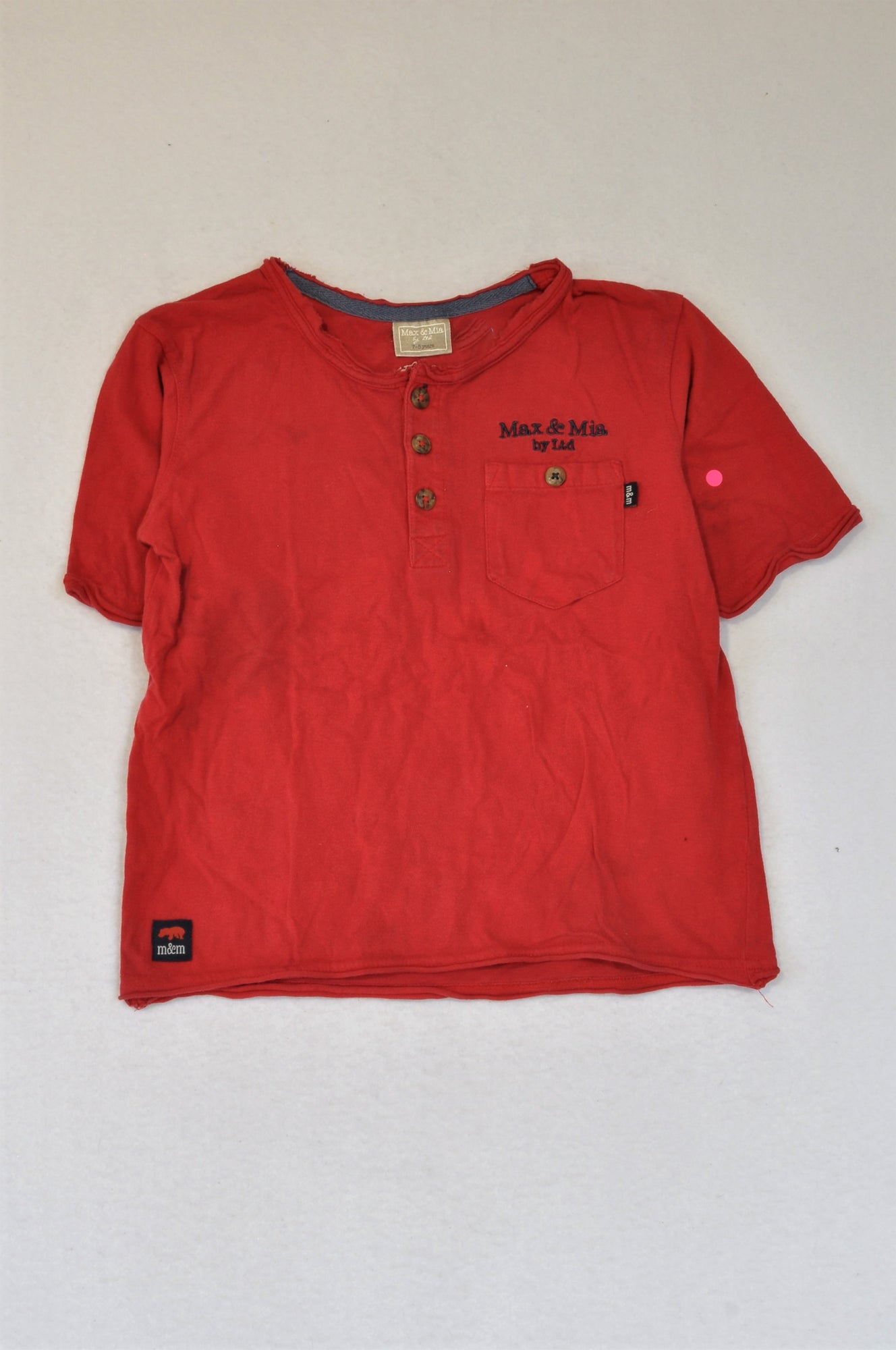 Max & Mia Red Henley T-shirt Boys 7-8 years