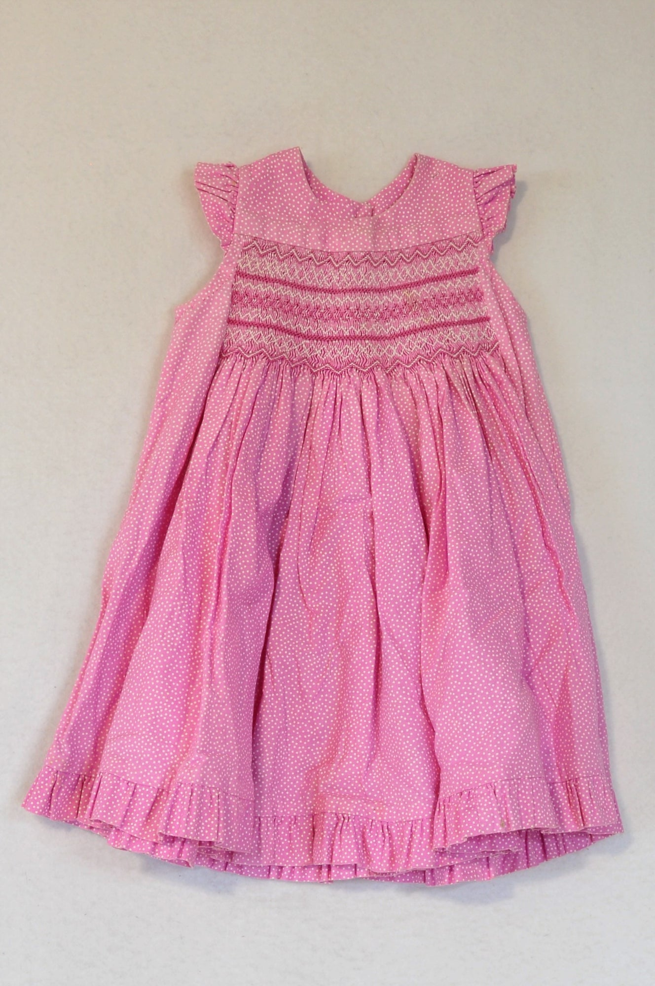 Unbranded Pink Dotty Smock Dress Girls 1-2 years