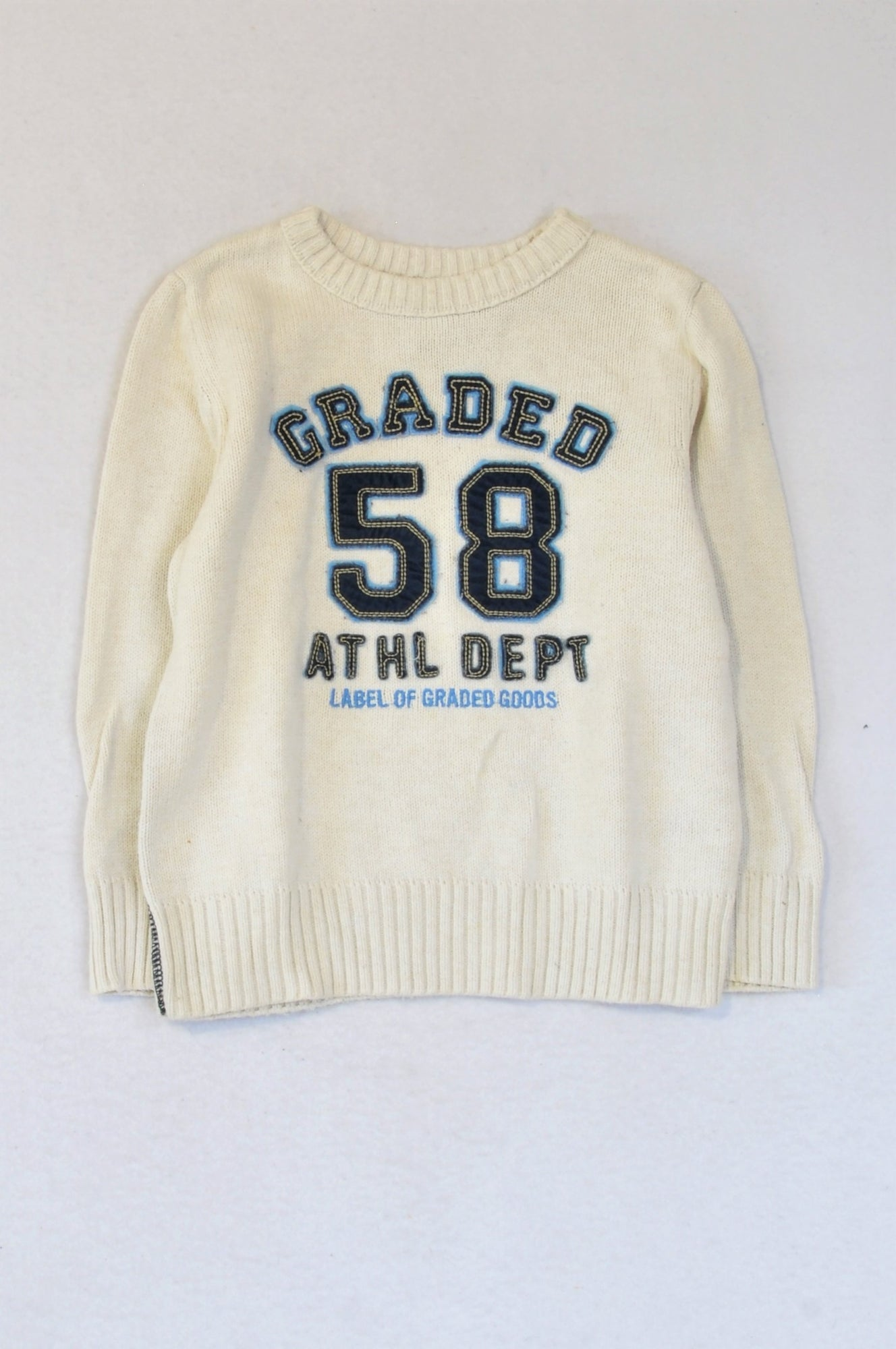 H&M Ivory Navy Graded 58 Knit Pullover Jersey Boys 2-4 years
