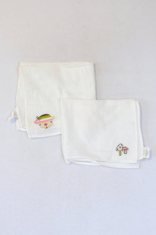 Mamas & Papas 2 Pack White Embroidered Muslin Burp Cloth Unisex N-B to 2 years