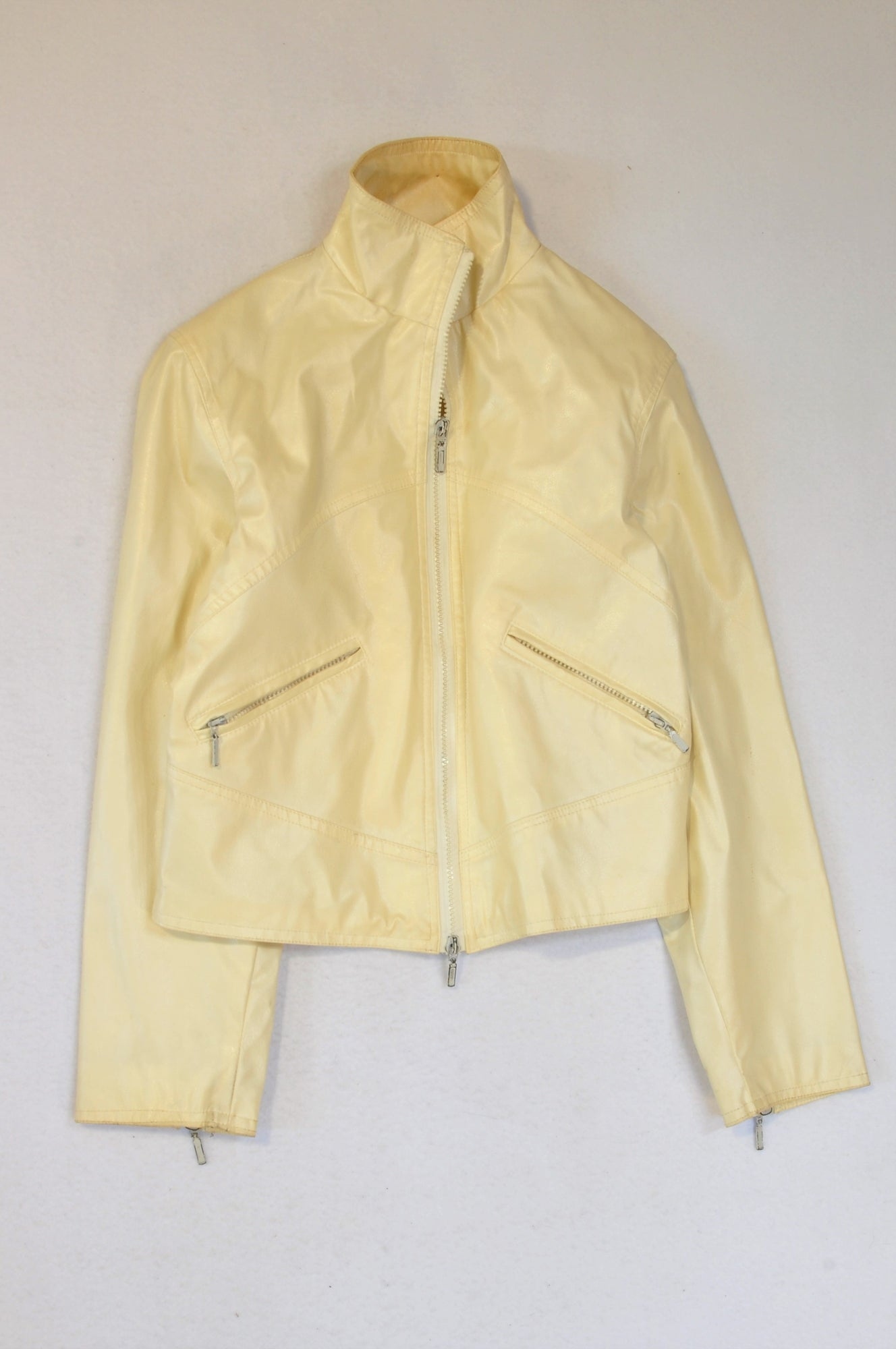 Jessy Line Cream Faux Leather Jacket Women Size S
