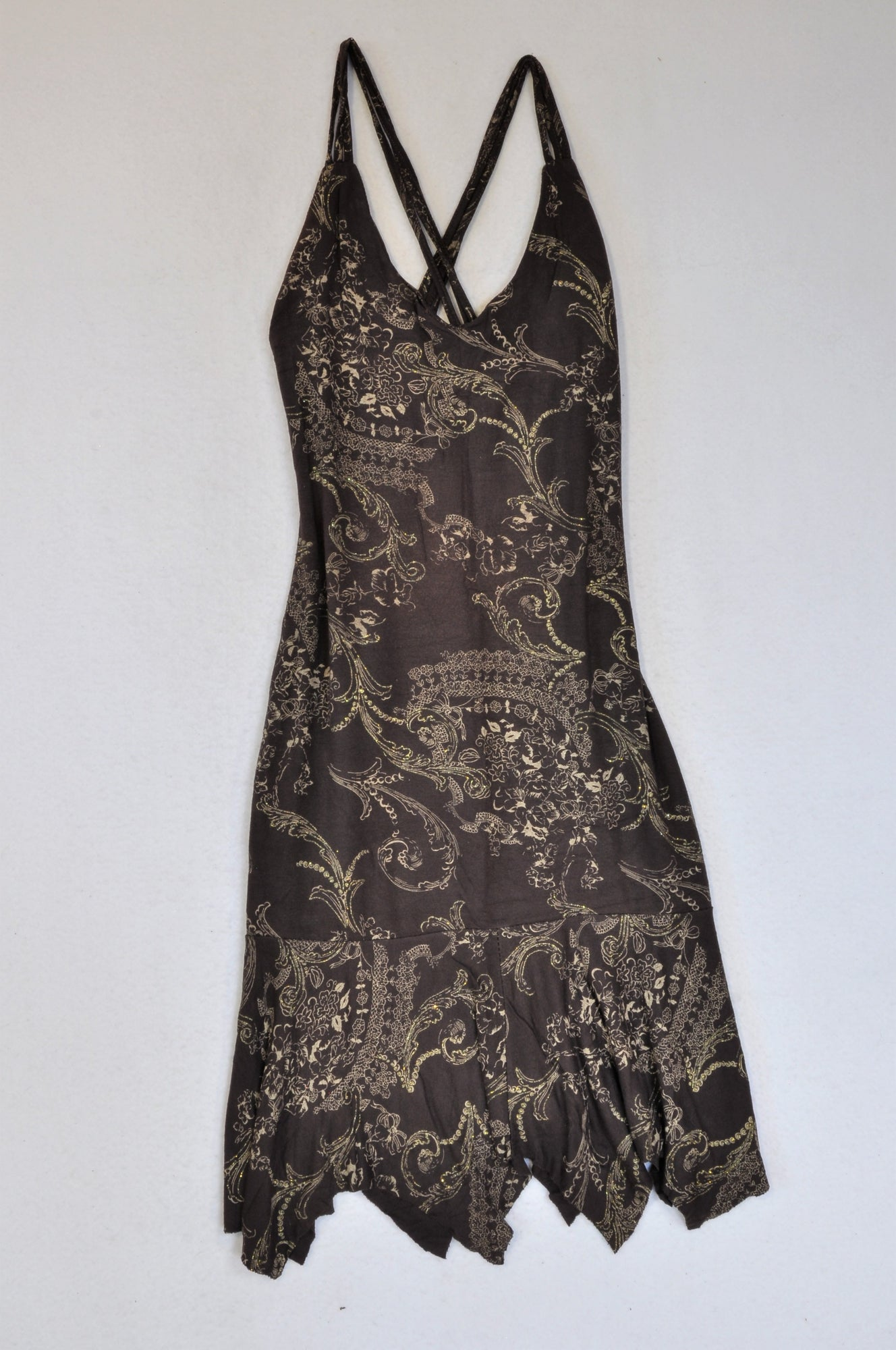 Unbranded Brown Strappy Glitter Paisley Dress Women Size 8