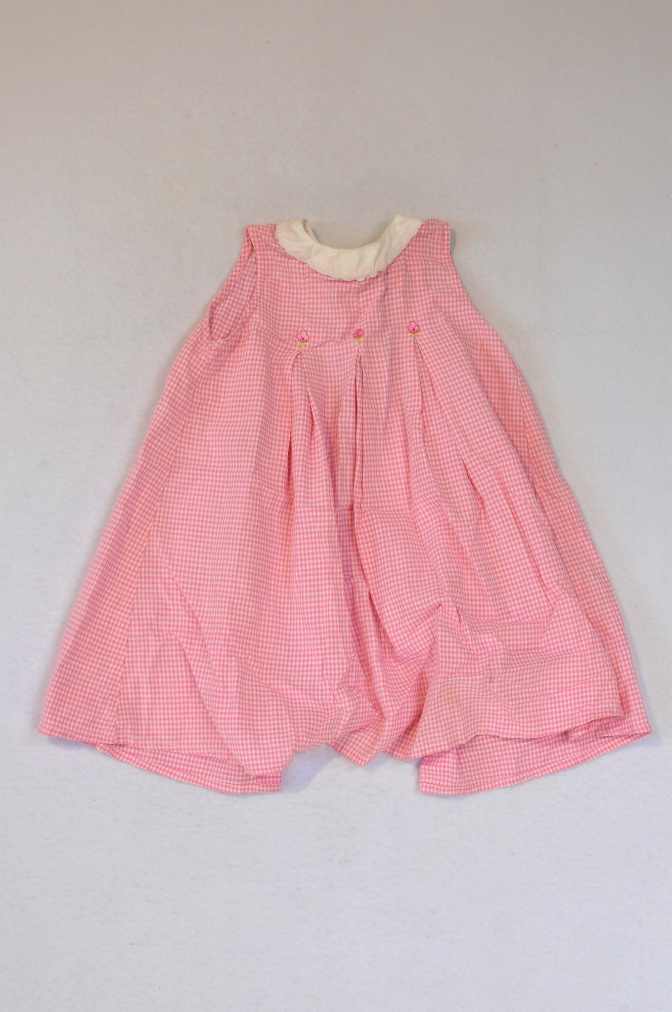 Unbranded White & Pink Lined Smock Dress Girls 0-3 months
