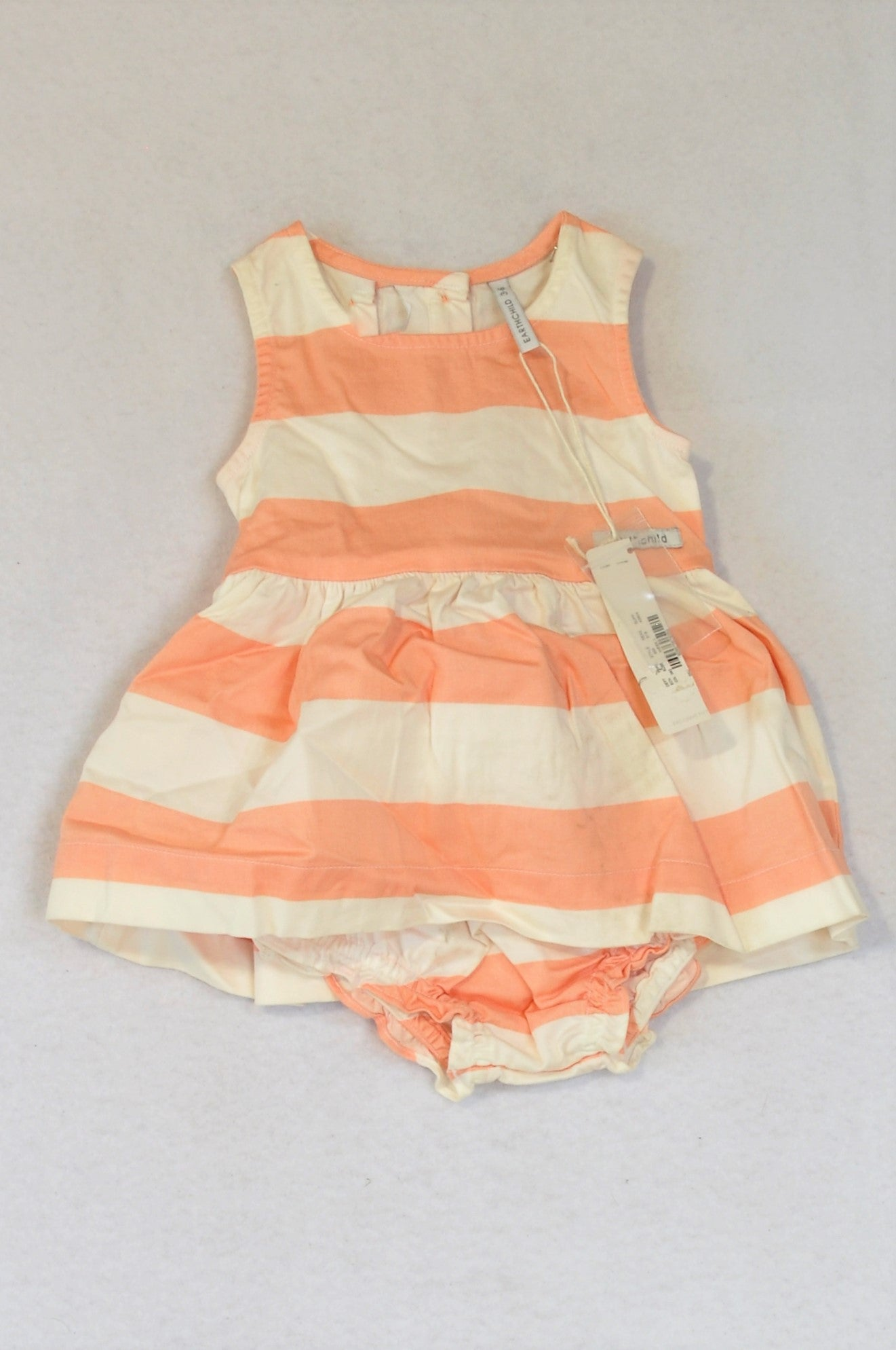 New Earthchild White & Peach Striped Dress & Bloomers Outfit Girls 3-6 months