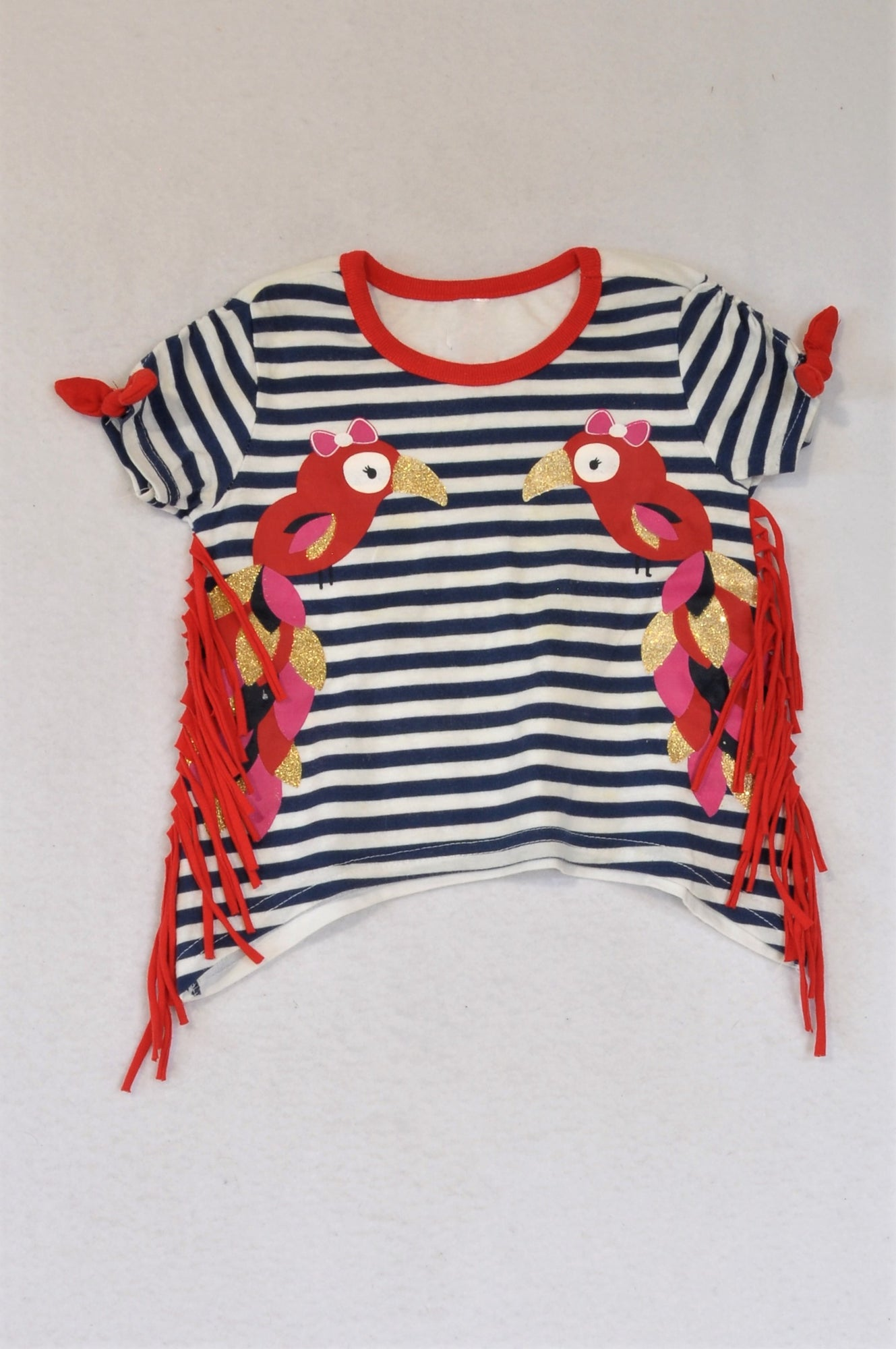 Unbranded Navy Striped Red Parrot Tassle T-shirt Girls 12-18 months