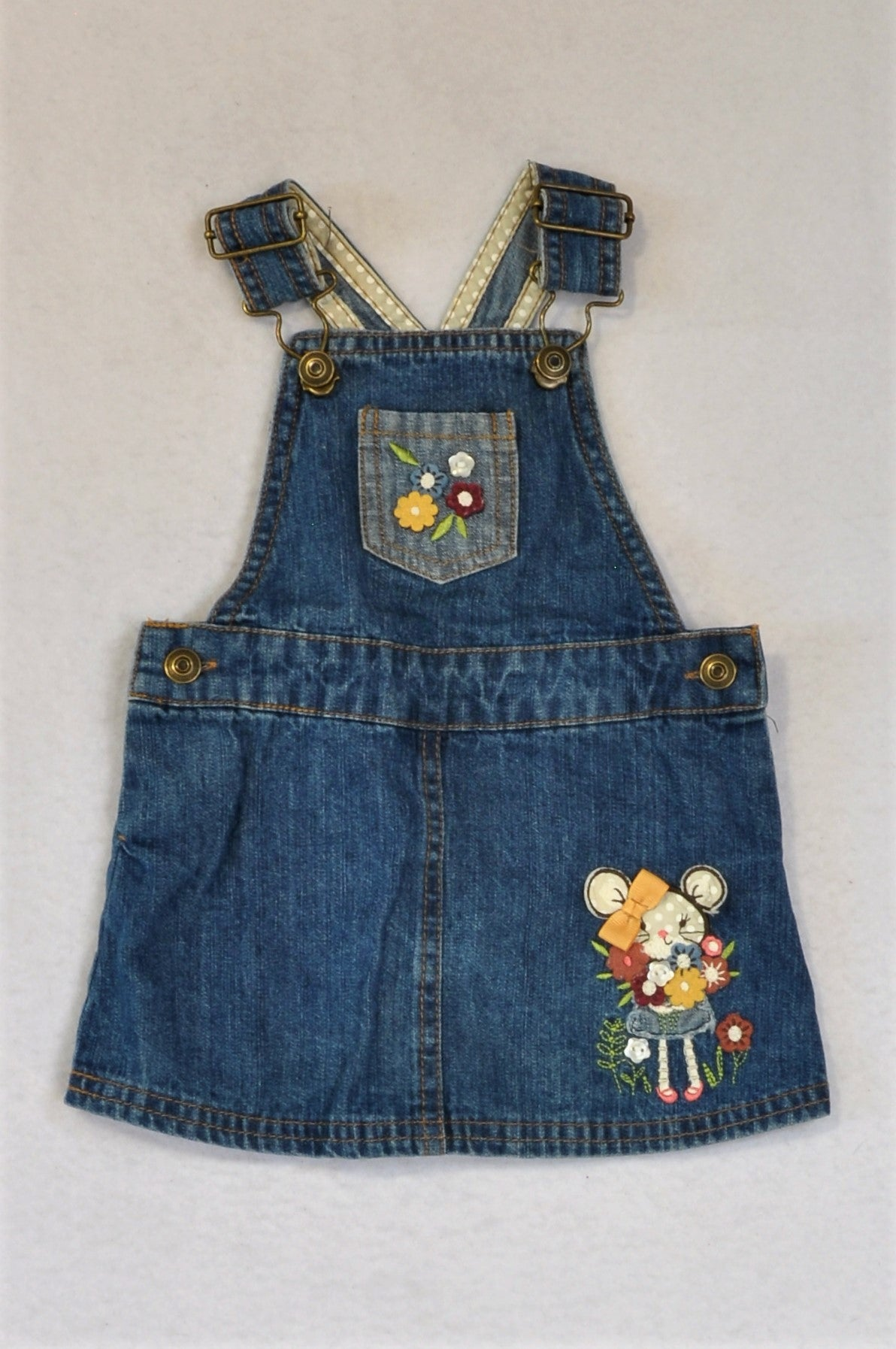 Unbranded Denim Embroidered Mouse Adjustable Dungaree Dress Girls 3-6 months