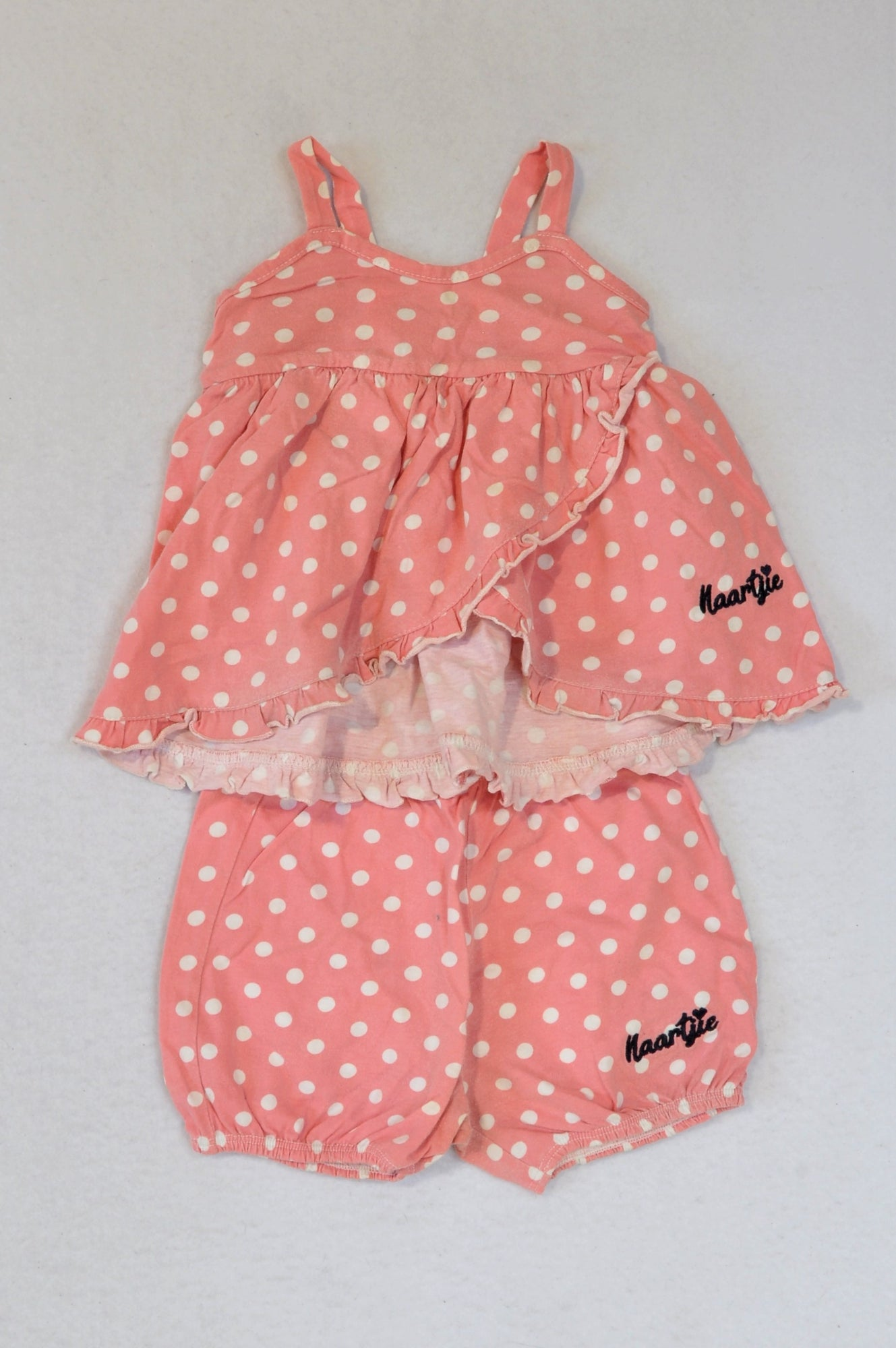 Naartjie Coral Dotty Dress & Shorts Outfit Girls 12-18 months