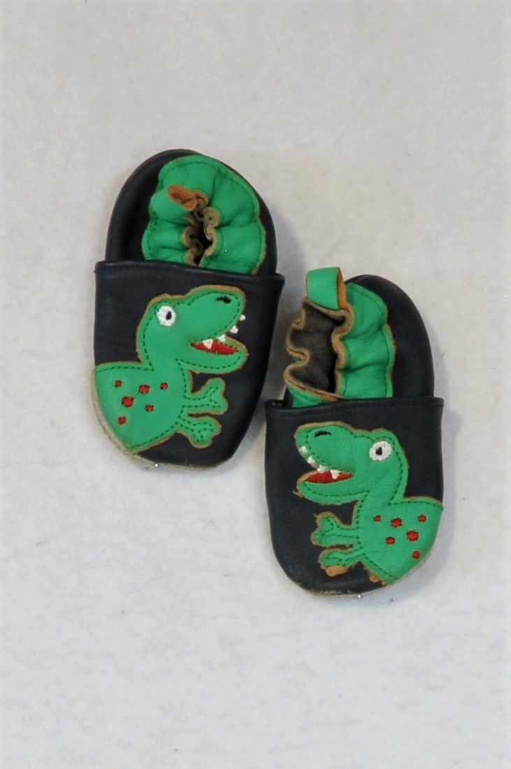 Unbranded Size 1 Navy & Green Crocodile Leather Soft Sole Shoes Boys 3-6 months