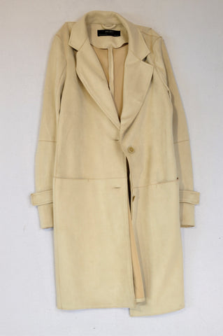 Zara Cream Microsuede Coat Women Size XS