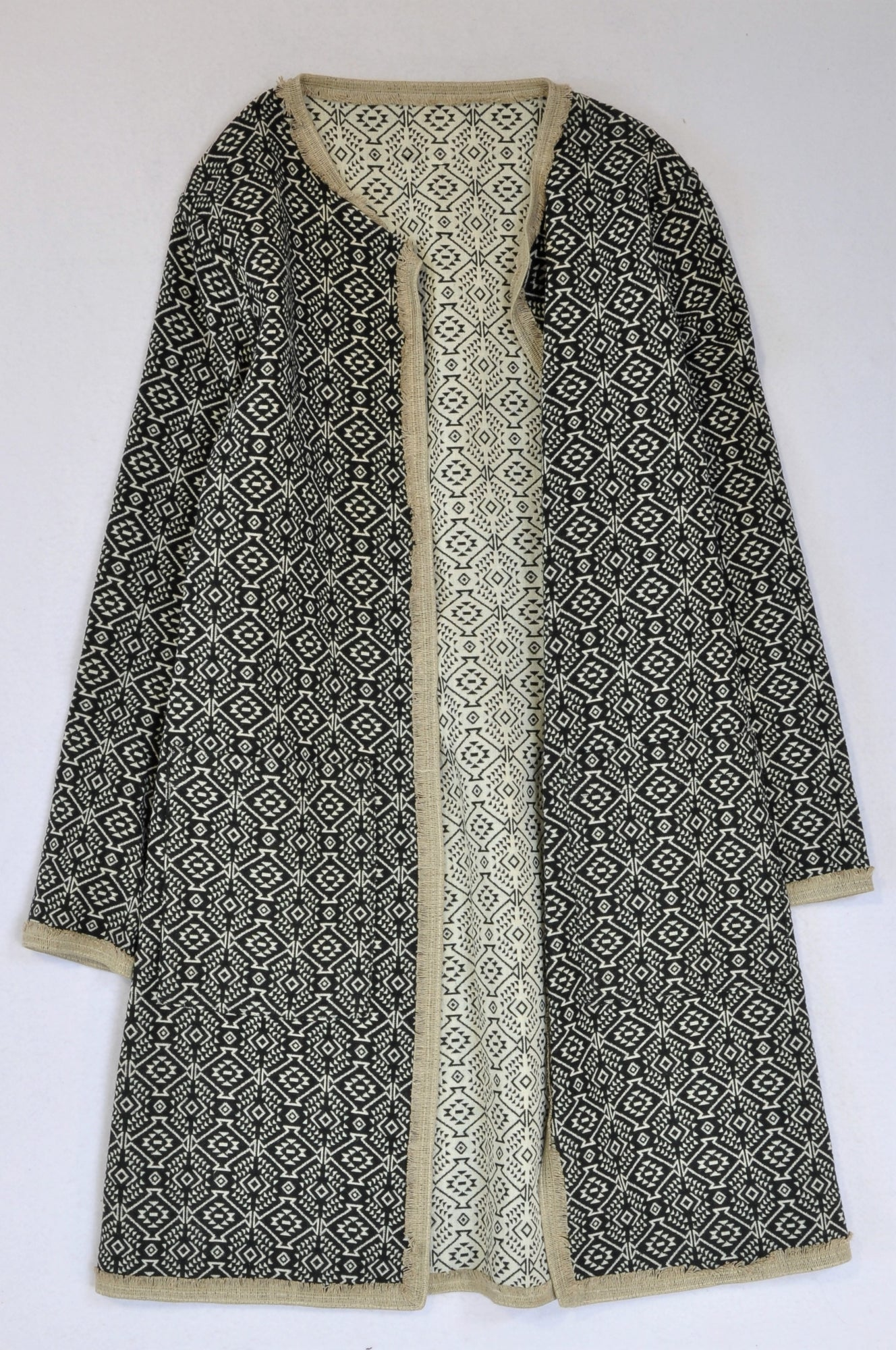 Unbranded Black & Beige Tribal Coat Women Size 8
