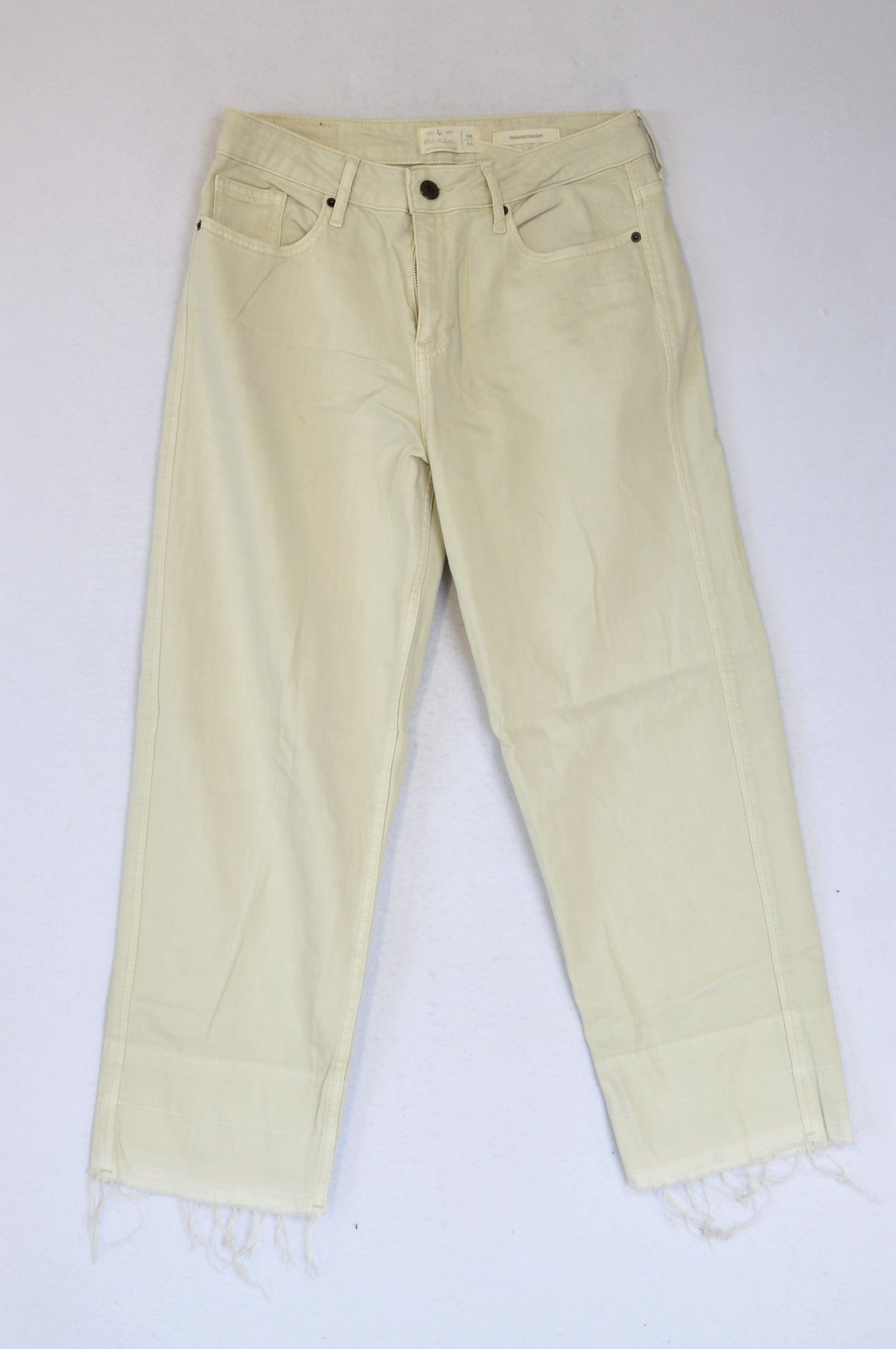 Old Khaki Beige Distressed Hem Straight Leg Jeans Women Size 10